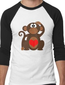 Monkey Love Cute Fun Men's Baseball ¾ T-Shirt