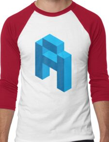 Isometric blue letter A Men's Baseball ¾ T-Shirt