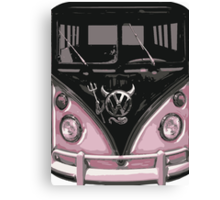 Pink Camper Van With Devil Emblem Art Canvas Print