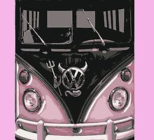 Pink Camper Van With Devil Emblem Art by funandhappy