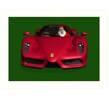 Santa Claus Driving A Ferrari Art Print