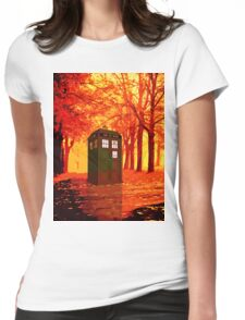 tardis starry nigh - oranye sun Womens Fitted T-Shirt