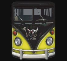 Yellow Camper Van With Devil Emblem by Jason Subroto