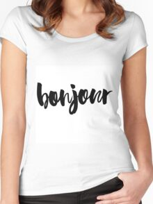 bonjour ink brush lettering Women's Fitted Scoop T-Shirt