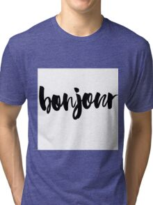 bonjour ink brush lettering Tri-blend T-Shirt