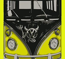 Yellow Camper Van With Devil Emblem Art by funandhappy