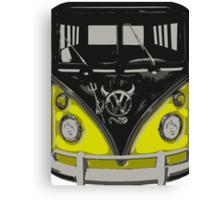 Yellow Camper Van With Devil Emblem Art Canvas Print