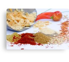 Still life of herbs and spices on white table Metal Print