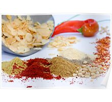 Still life of herbs and spices on white table Poster