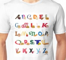 Fast Food Alphabet Unisex T-Shirt