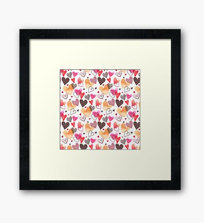 Colorful Cute Hearts Pattern Framed Print