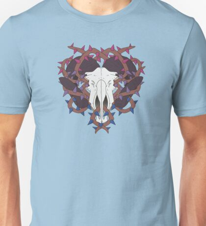 thorny bi pride goat skull Unisex T-Shirt