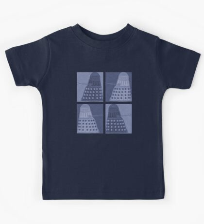 Daleks in negatives - blue Kids Tee