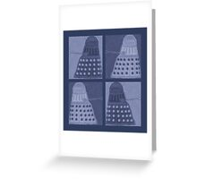 Daleks in negatives - blue Greeting Card