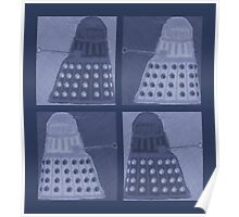 Daleks in negatives - blue Poster