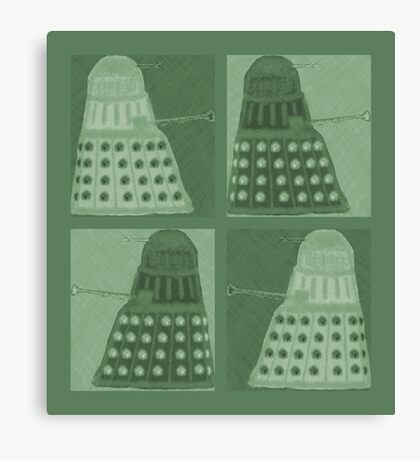 Daleks in negatives - green Canvas Print