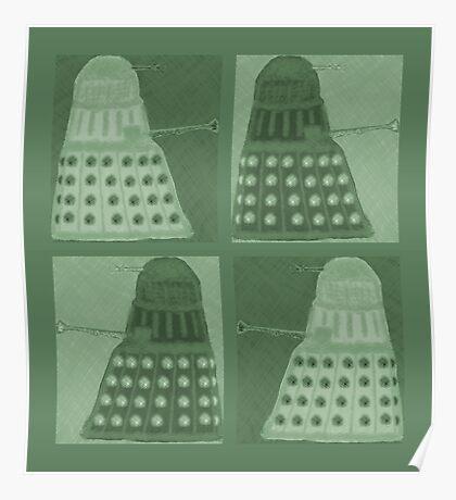 Daleks in negatives - green Poster