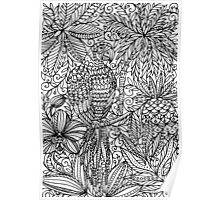 Tropical Parrot - black and white Poster