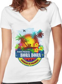 Bora Bora Summer Beach Women's Fitted V-Neck T-Shirt