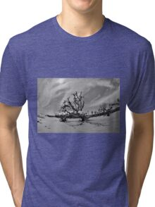 Hunting Island Beach And Driftwood Black And White Tri-blend T-Shirt