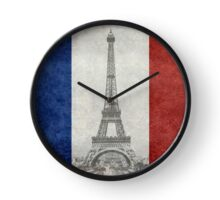 Vintage national flag of France with Eiffel Tower insert Clock