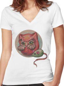Daruma Cat  Women's Fitted V-Neck T-Shirt