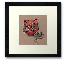 Daruma Cat  Framed Print