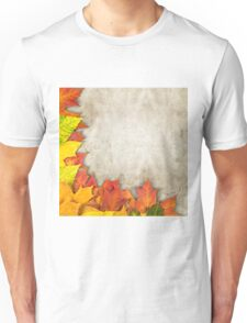 autumn leaves as a frame Unisex T-Shirt