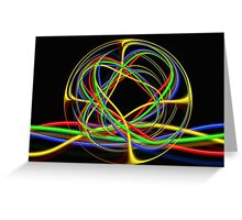 Abstract Ball Of Neon Lights Greeting Card