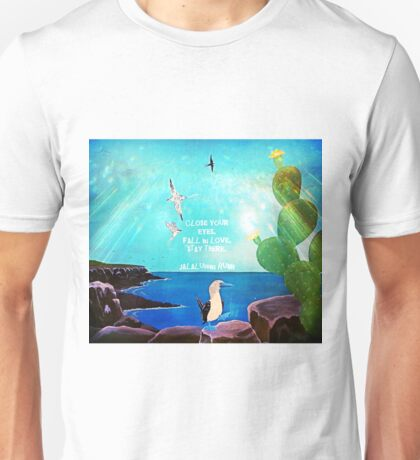 Inspirational Fall In love Quote With Flying Birds Painting  Unisex T-Shirt