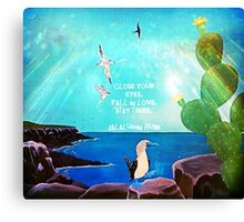 Inspirational Fall In love Quote With Flying Birds Painting  Canvas Print