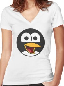 Linux Angry Tux Women's Fitted V-Neck T-Shirt