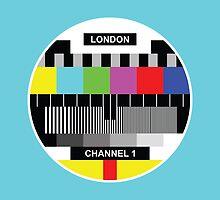 London TV Screen cyan cushion cover by jaysanstudio