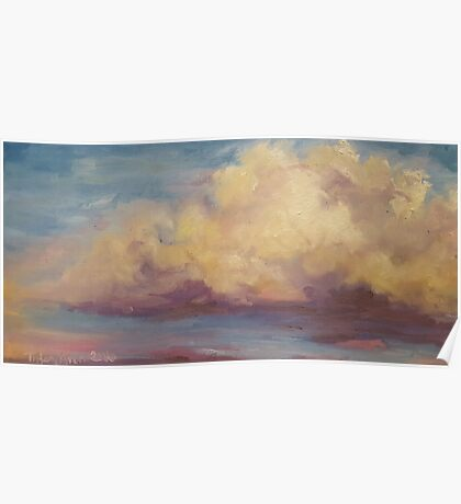 Impressionist Oil painting Clouds and sunset original art Poster