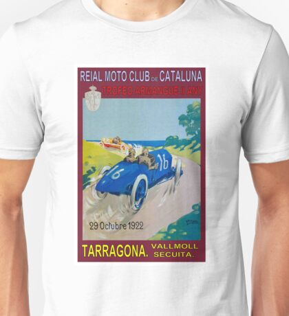 CATALUNA TARRAGONA; Vintage Auto Racing Advertising Print Unisex T-Shirt
