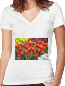 Red White Yellow Tulips Women's Fitted V-Neck T-Shirt