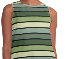 Monochrome Stripes: Shades of Green Contrast Tank