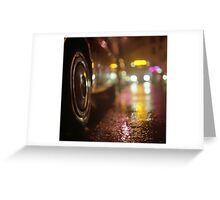 Cars in urban street on rainy night hasselblad medium format analog film photograph Greeting Card