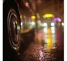 Cars in urban street on rainy night hasselblad medium format analog film photograph Photographic Print
