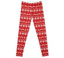 Irish Terrier Silhouettes Christmas Sweater Pattern Leggings