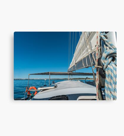 Sailing boat wide angle view in the sea Canvas Print
