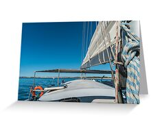 Sailing boat wide angle view in the sea Greeting Card