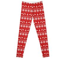 Italian Greyhound Silhouettes Christmas Sweater Pattern Leggings