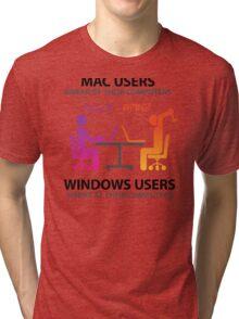 Mac users swear by their computers Tri-blend T-Shirt