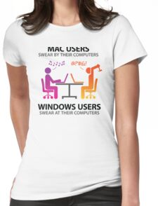 Mac users swear by their computers Womens Fitted T-Shirt