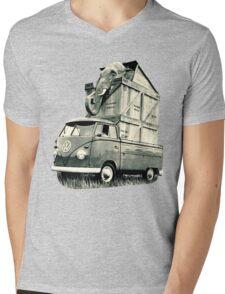 Vintage Volkswagen Bus Single Cab Hauling Elephant Mens V-Neck T-Shirt