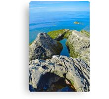 Seashore Rocks Covered In Moss #2 Canvas Print