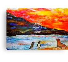 True Friendship Inspirational Love Quote With Penguins Painting  Canvas Print