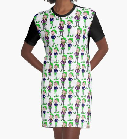 Jingle Jangle Christmas Elves Graphic T-Shirt Dress