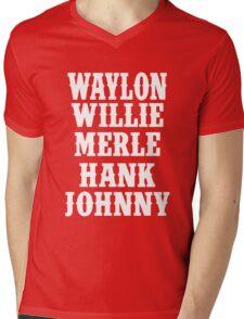 Waylon Jennings Merle Haggard Willie Nelson Hank Williams Johnny white Mens V-Neck T-Shirt